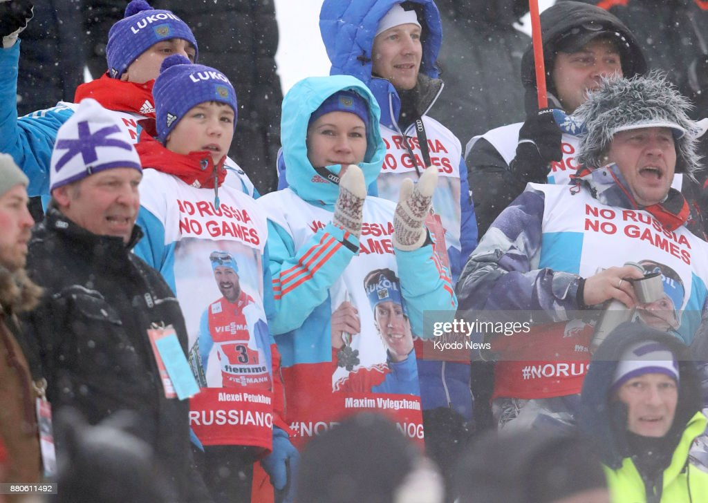 Spectators wear a 'No Russia, No Games' bib at the Nordic combined World Cup in Ruka, Finland, on Nov. 24, 2017, to protest the lifetime ban of three Russian athletes from the Olympics. ==Kyodo