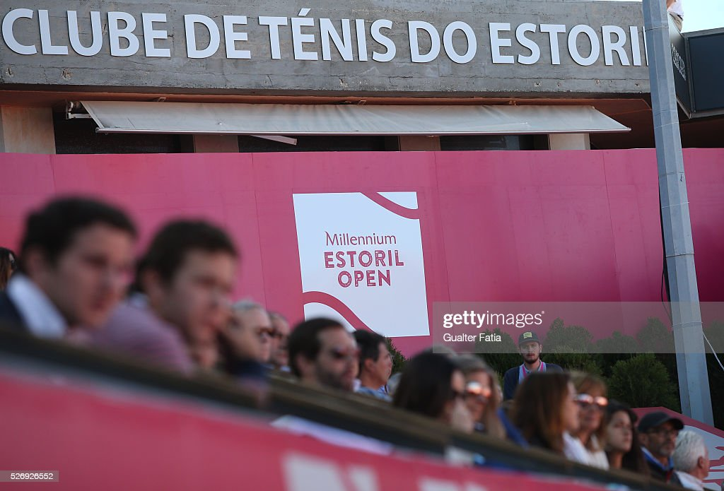 Spectators with tournament logo during the singles final match between Pablo Carreno Busta from Spain and Nicolas Almagro from Spain for Millennium Estoril Open at Clube de Tenis do Estoril on May 1, 2016 in Estoril, Portugal.