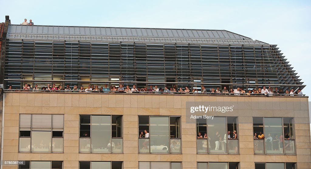 Spectors watch the opening night of the Classic Open Air festival at Gendarmenmarkt on July 21 2016 in Berlin Germany