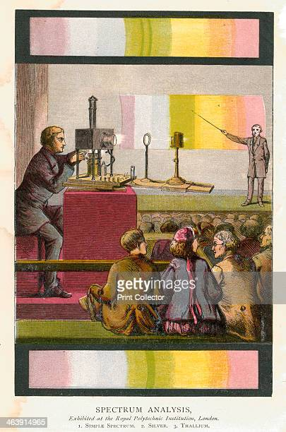 Spectrum analysis 1873 A magic lantern being used to project slides during a lecture on spectrum analysis at the Royal Polytechnic Institution London...