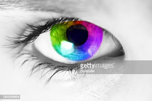 Spectrum colors appearing in the iris of human eye