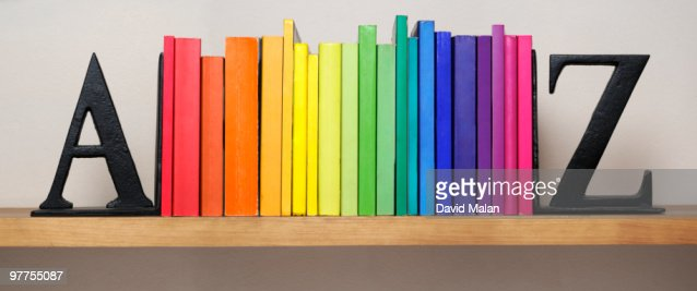 Spectrum of books between A & Z bookends : Stock Photo
