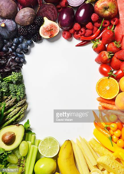 Spectrum of fruit and veg forming a border