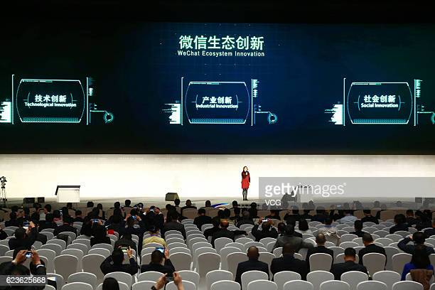 A speech about WeChat Ecosystem Innovation by Tencent is delivered during the Release Ceremony for World Leading Internet Scientific and...