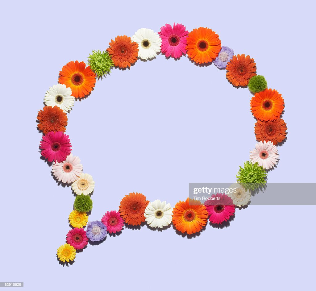 Speech bubble made of flowers : Stock Photo