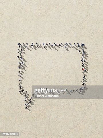 Speech bubble made out of walking people