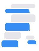 Set of gray and blue text bubble