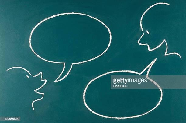 Speech Bubble Sketched on Blackboard