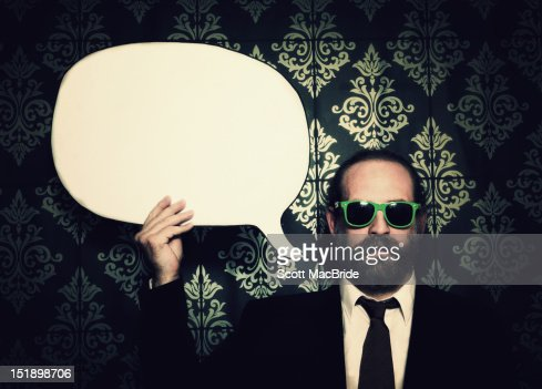 Speechless bubble with man : Stock Photo