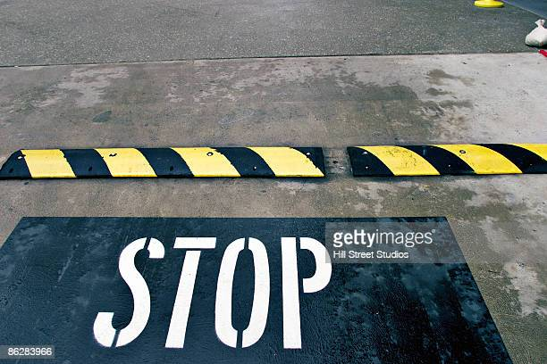 Speed bump with 'stop