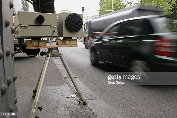 A speed camera of the German police monitors speeding automobile drivers on a busy street August 30 2006 in Berlin Germany Germany has stringent laws...