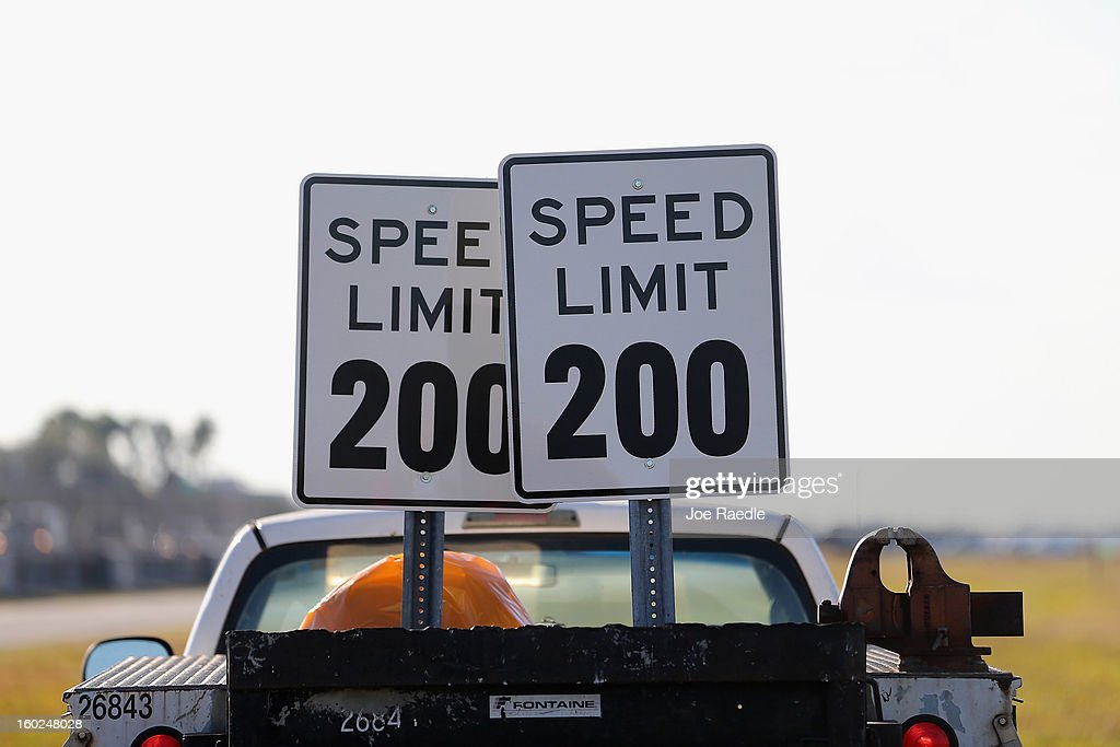 A Speed Limit 200 sign is seen during the world wide unveiling of the new Lamborghini Aventador LP700-4 Roadster at the Miami International Airporton January 28, 2013 in Miami, Florida. The world wide unveiling of the new luxury super sports cars took place at the airport.