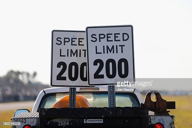 Speed Limit 200 sign is seen during the world wide unveiling of the new Lamborghini Aventador LP7004 Roadster at the Miami International Airporton...