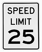 'Speed Limit 25' road sign