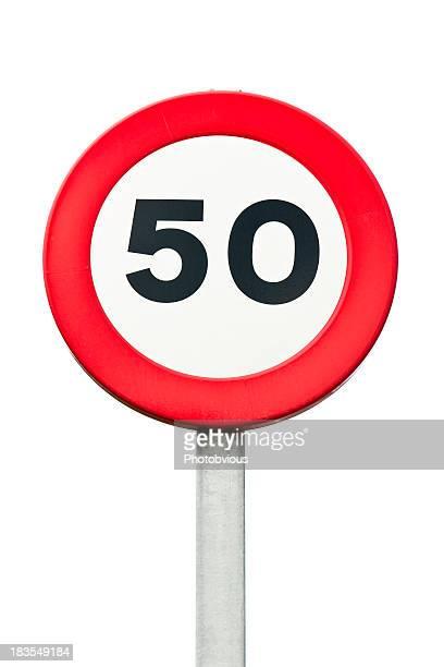 O limite de velocidade de 50 km/h roadsign