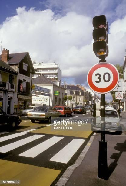 Speed limit roadsign in November 1993 in Nantes France