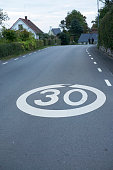 Speed marking on road