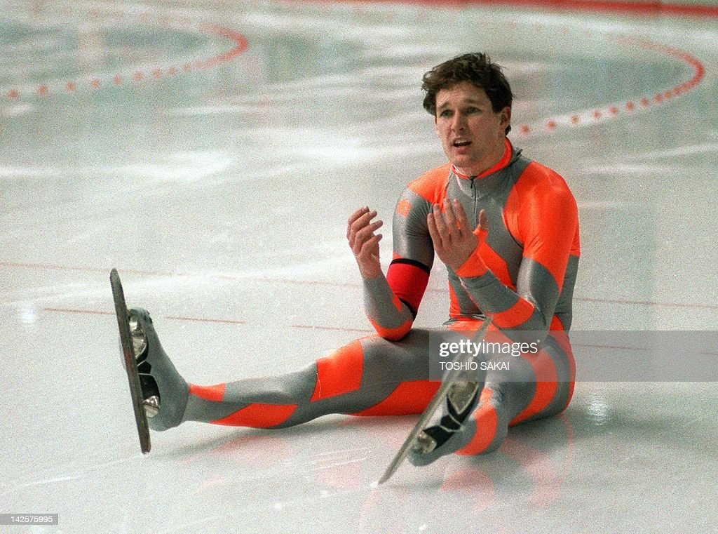 Speed skater <a gi-track='captionPersonalityLinkClicked' href=/galleries/search?phrase=Dan+Jansen&family=editorial&specificpeople=235919 ng-click='$event.stopPropagation()'>Dan Jansen</a> from the United States reacts as he sits on his ice after falling during the men's 1000m event at the Winter Olympic Games 18 February 1988 in Calgary. Jansen, a favorite to take the title, had also fallen in the 500m race 15 February.