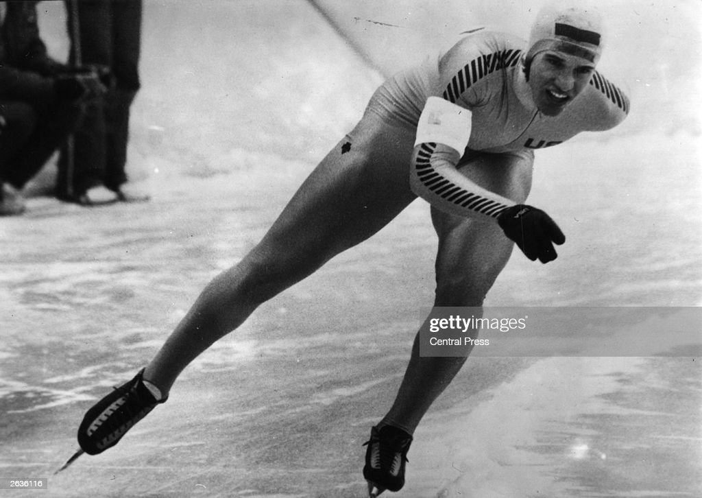 US speed skater Eric Arthur Heiden competing in the speed skating events at the Winter Olympics at Lake Placid, USA, at which he won five gold medals.