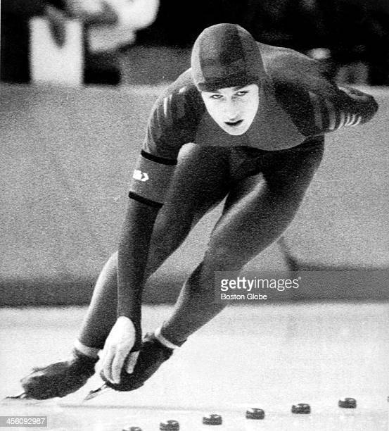 S speed skater Eric Flaim competes in the men's speed skating 1500m race at the 1988 Winter Olympic Games in Calgary Flaim placed second in the event...