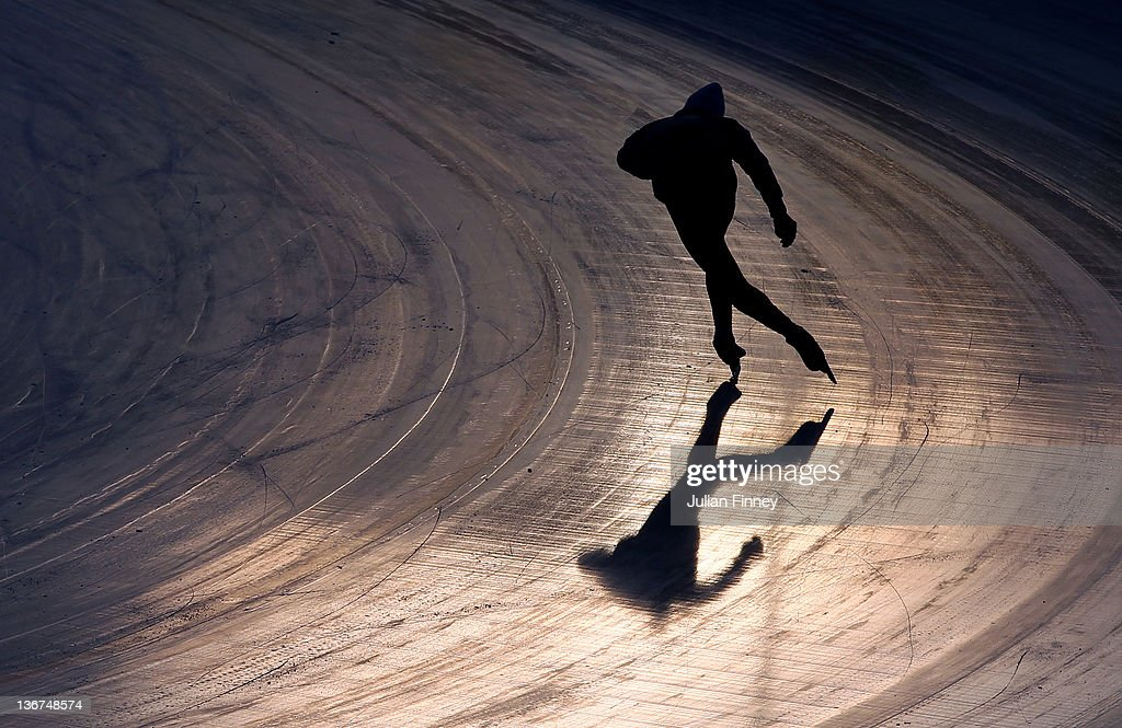 A Speed Skater in action at the Skating Oval during previews to the Winter Youth Olympic Games on January 11, 2012 in Innsbruck, Austria.