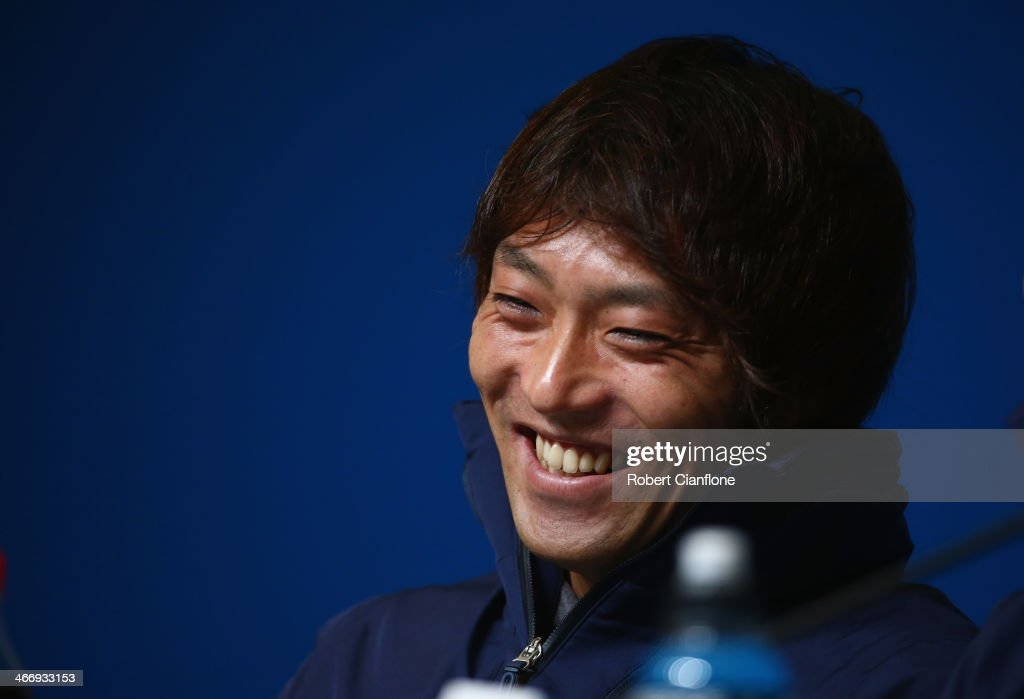 Speed Skater <a gi-track='captionPersonalityLinkClicked' href=/galleries/search?phrase=Keiichiro+Nagashima&family=editorial&specificpeople=818808 ng-click='$event.stopPropagation()'>Keiichiro Nagashima</a> of Japan attends a press conference ahead of the Sochi 2014 Winter Olympics at the Main Press Center on February 5, 2014 in Sochi, Russia.