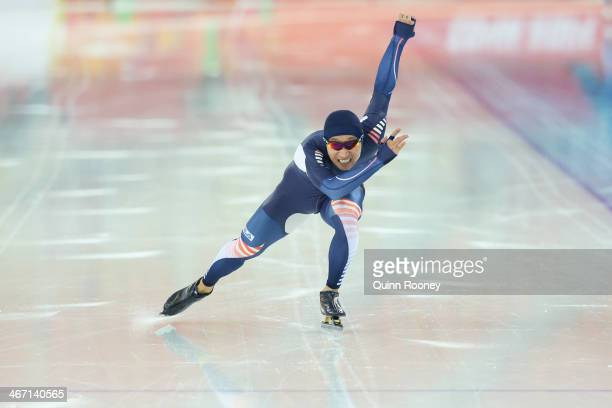 Speed skater KyouHyuk Lee of South Korea practices during a speed skating training session ahead of the Sochi 2014 Winter Olympics at Adler Arena...