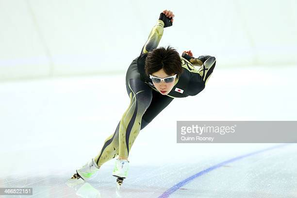 Speed skater Nao Kodaira of Japan skates during a practice session ahead of the Sochi 2014 Winter Olympics at Adler Arena Skating Center on February...