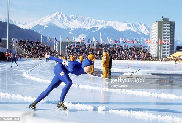 1976 Winter Olympics USA Sheila Young in action during Women's 1500M race at Olympia Eisschnellaufbahn Innsbruck Austria 1/31/1976 CREDIT Jerry Cooke