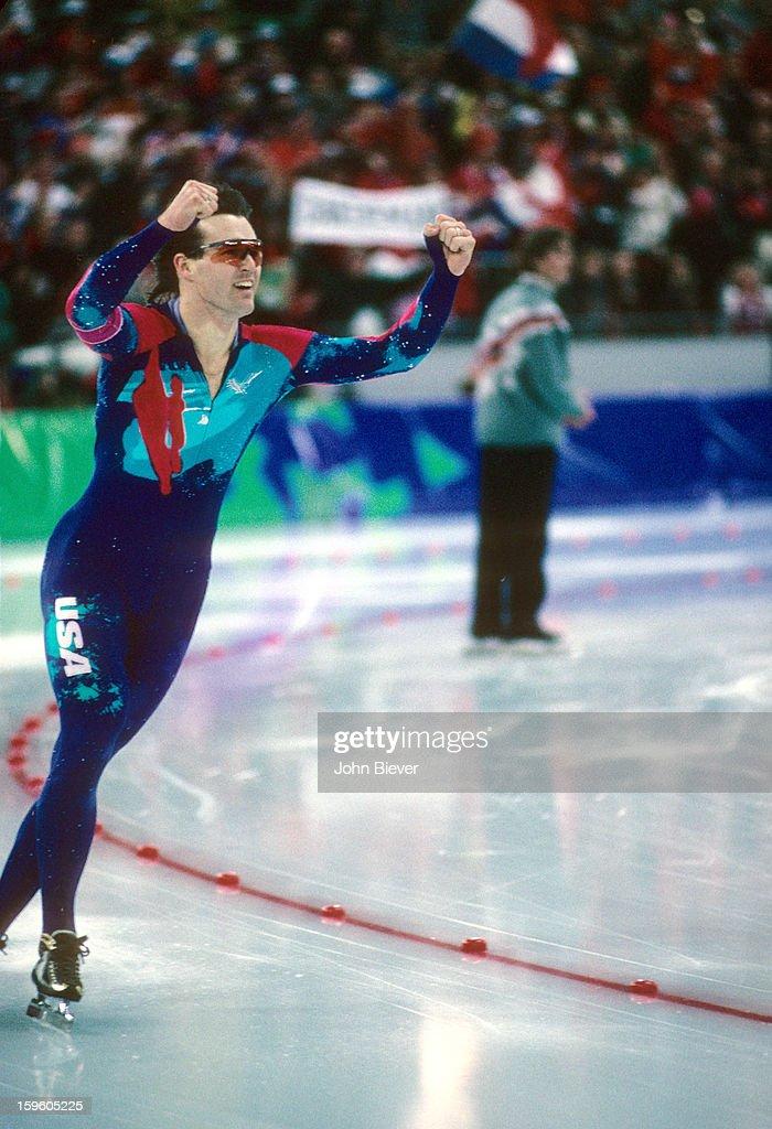 USA Dan Jansen victorious after winning gold during Men's 1000M Finals at Vikingskipet Olympic Arena.Hamar, Norway 2/18/1994