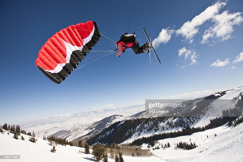 Speed Flyer Above Canyon View : Stock Photo