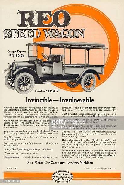 "Speed Wagon truck is shown in a magazine advertisement from 1922 The ad states ""that there are more Reo Speed Wagons being sold than of all other..."