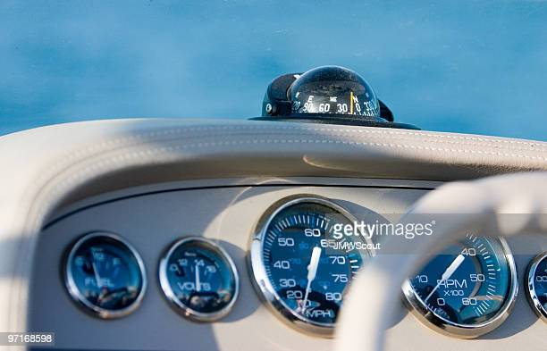 Speedboat cockpit and gauges