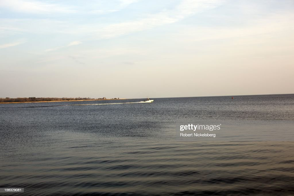 A speedboat cruises near Griswold Point November 10, 2012 in Old Saybrook, Connecticut.