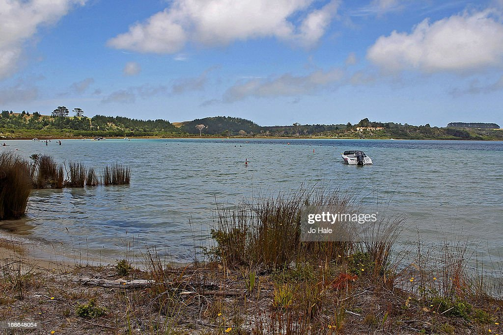 A Speedboat on the Taharoa Lake Domain of the Kai Iwi Lakes on January 8, 2013 in Omamari of Kaipara in the Northlands of the North Island in New Zealand.