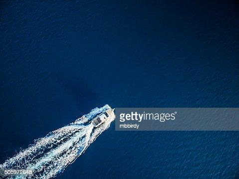 Speedboat racing along the open sea