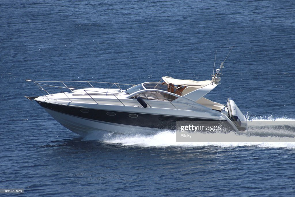 A speedboat sailing on the ocean