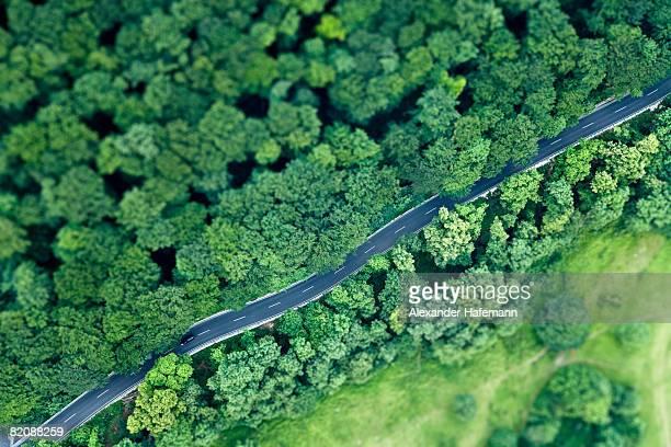 Speeding Car Aerial View