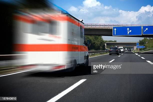 Speeding German ambulance on the highway