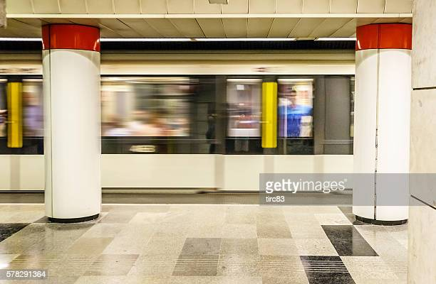 Speeding Metro train on Budapest underground railway