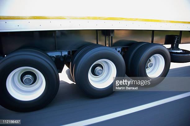 Speeding tires on semi-truck