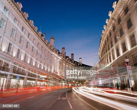 Speeding traffic through Regent Street in London