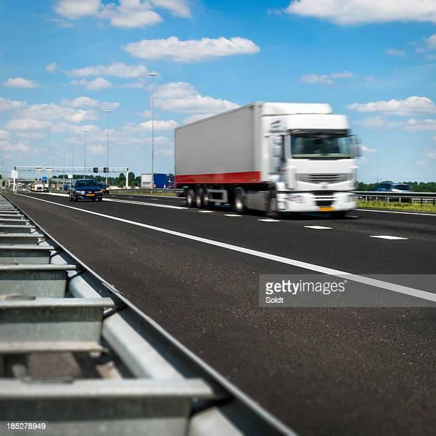 Speeding truck on dutch highway