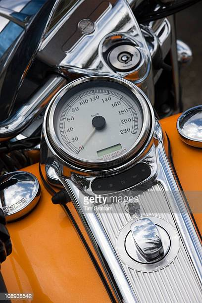 Speedometer of Harley Davidson motorcycle at luxury resort South Beach Miami Florida USA