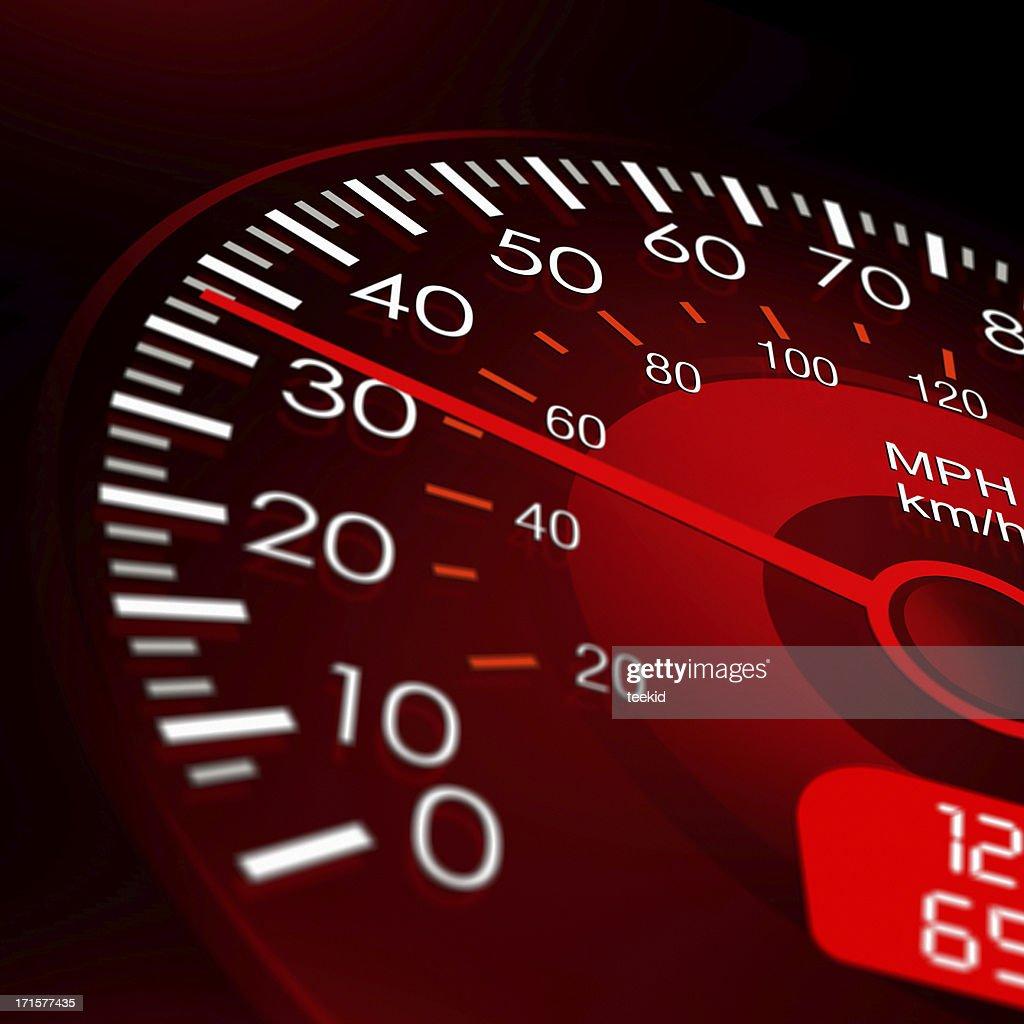 Speedometer with Red Dashboard-Vehicle Speed Meter