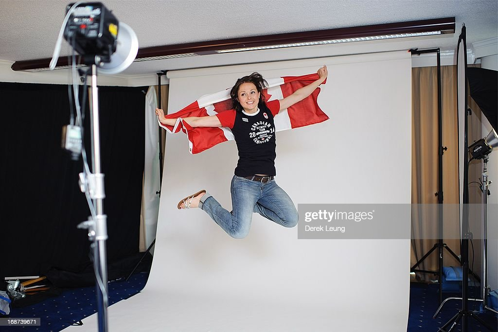 Speed-skater Gabrielle Waddell poses for a portrait during the Canadian Olympic Committee Portrait Shoot on May 13, 2013 in Vancouver, British Columbia, Canada.