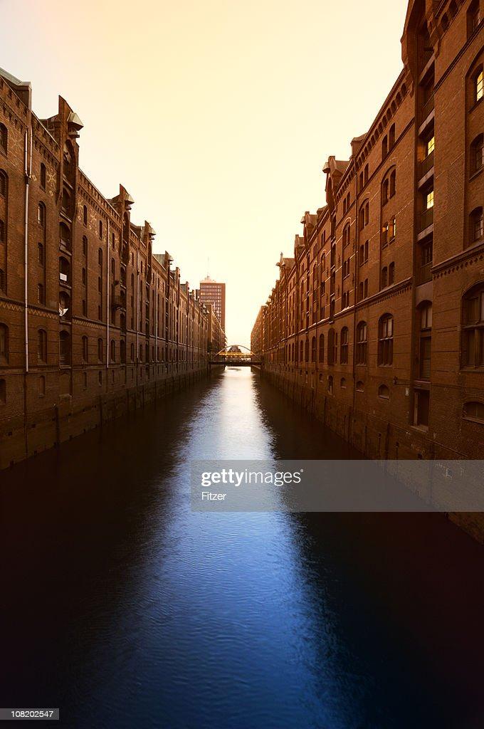 Speicherstadt Hamburg Canal at Sunset : Stock Photo