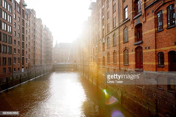 Speicherstadt old buildings and canal