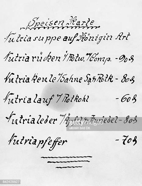 Speisenkarte eines Lokals in Berlinwelches NutriaGerichte anbietet 1937 erschienen 1937
