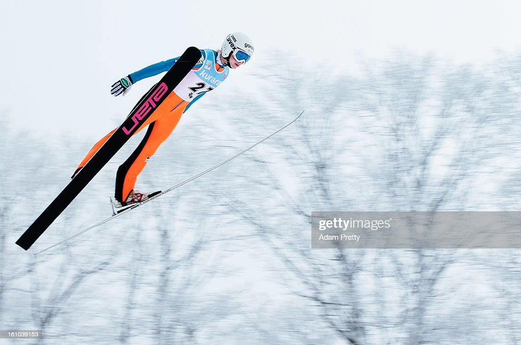 Spela Rogelj of Slovenia jumps in the first round of competition during day one of the FIS Women's Ski Jumping World Cup at Zao Jump Stadium on February 9, 2013 in Yamagata, Japan.